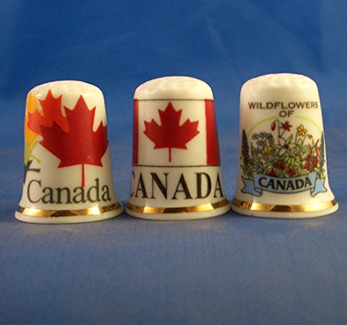 Canada Souvenir Porcelain China Collectable Set of Three Thimbles