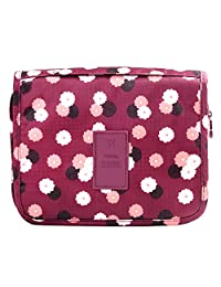 Vox Foldable Makeup Bag for Travel Toiletry Bag with Hook Waterproof Cosmetic Hanging Organizer Women Girl, Red