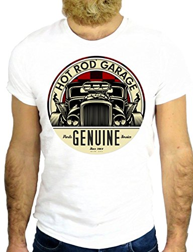 T SHIRT JODE Z1303 HOT ROD GARAGE GENUINE COOL USA VINTAGE AMERICA NEW YORK GGG24 BIANCA - WHITE S