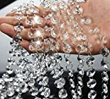 19.7 Feet Clear Crystal Beads Clear Chandelier Bead Lamp Chain for Wedding Party Tree Garlands Decoration, DIY Jewelry Making,and Other DIY Craft Projects