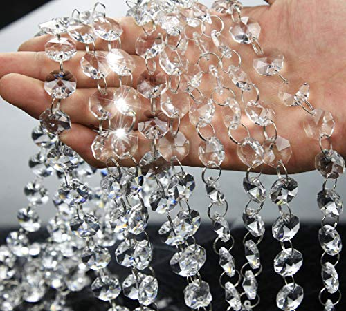 16.5 Feet Clear Crystal Beads Clear Chandelier Bead Lamp Chain for Wedding Party Tree Garlands Decoration, DIY Jewelry Making,and Other DIY Craft (Faceted Bead Garland)