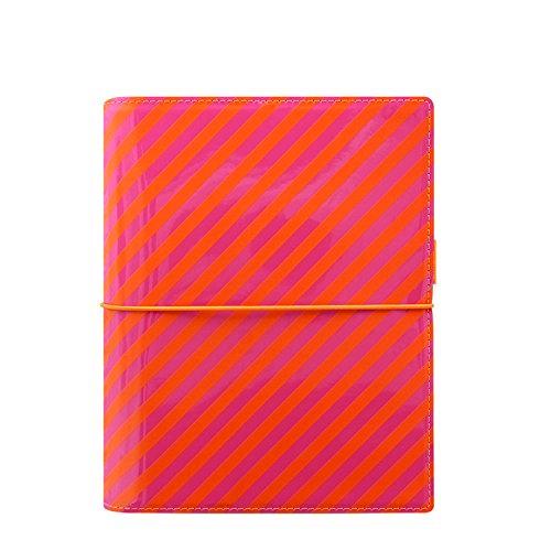 - Filofax A5 Domino Patent Stripes Organiser - Orange/Pink