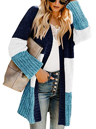 Womens Color Block Cardigans Long Boho Striped Draped Open Front Lightweight Knit Sweaters (Small, Z Chunky Navy Blue)