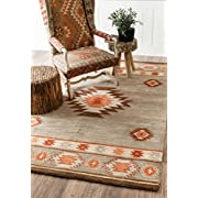 Hand-tufted Southwestern Grey Area Rugs, 2 Feet by 3 Feet (2 x 3)