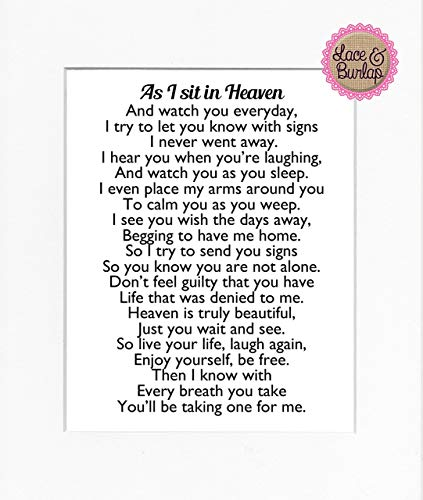 8x10 UNFRAMED PRINT As I Sit in Heaven Poem/Print Sign/Memorial Remembrance In Loving Memory Wall Décor - Loving Memory Poems