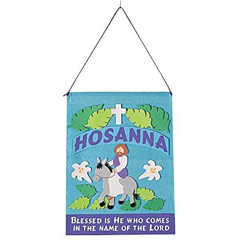 Fun Express - Palm Sunday Felt Banner Craft Kit for Easter - Craft Kits - Hanging Decor Craft Kits - Sign Decoration Craft Kits - Easter - 12 Pieces