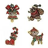Herinos 4Pcs Christmas Enamel Pins Brooch Lapel Badges Christmas Boot Santa Claus Jingle Bell Deer