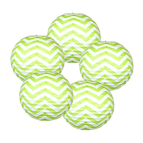 Just-Artifacts-20Paper-Lantern-Melon-Green-Chevron-Set-of-5