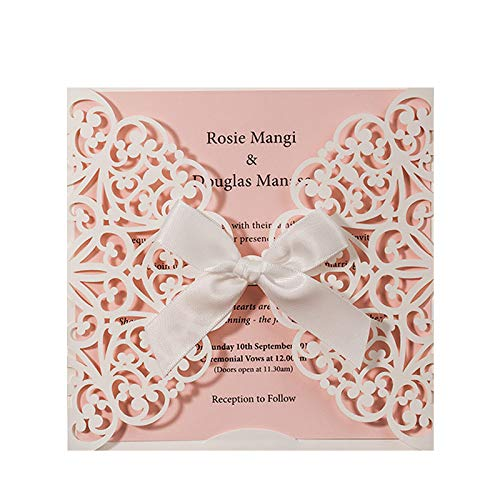 (Jofanza Laser Cut Wedding Invitations Square White and Pink Cards with Bow Lace Sleeve for Baby Bridal Shower Birthday Engagement Quinceanera (1 Piece Sample))