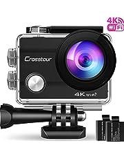 Crosstour Action Kamera 4K 20MP Wifi Unterwasserkamera 40M Cam Anti-Shake Zeitraffer & Loop-Aufnahme Plus 2 Wiederaufladbare 1350mAh Akkus USB-Ladegerät und Zubehör-Sets