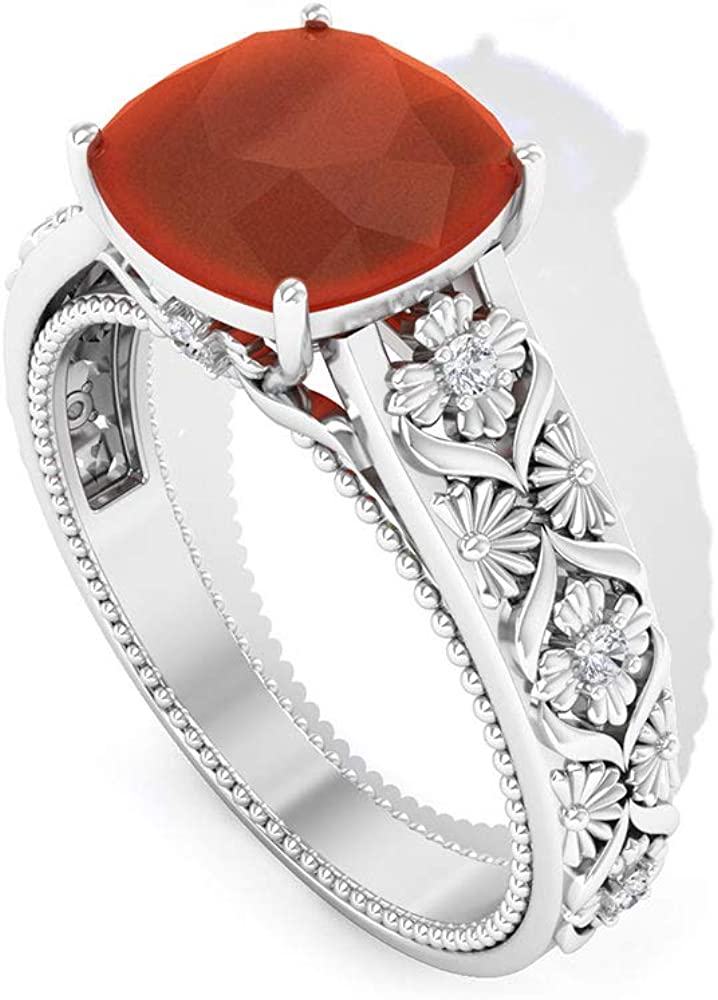 Anillo solitario solitario de 2,1 quilates de ónix rojo, anillo de compromiso grabado, anillo de declaración de piedra preciosa de corte cojín, 14K Oro rosa, Size:EU 47