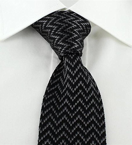 Black//Charcoal Michelsons of London Mens Zig Zag Silk Knitted Skinny Tie