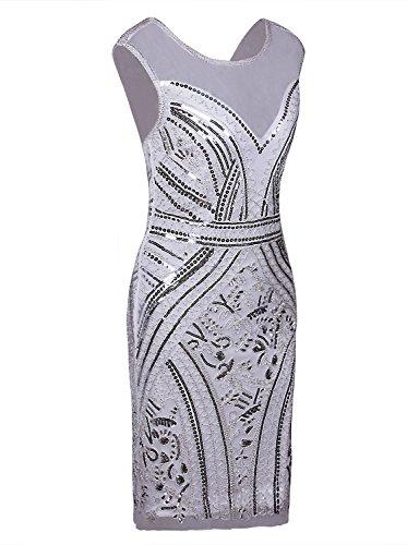 Vijiv White Cocktail Short 1920s Inspired Dresses Sequins Dress Prom Neck Flapper V Silver FUwFr7qn