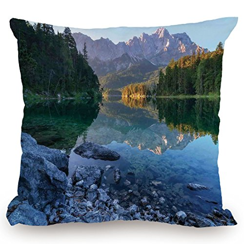 Cover,Lake House Decor,Fantastic Sundown on Mountain Lake Eibsee Located in the Bavaria Germany,Green Mustard Blue,Decorative Square Accent Pillow Case (Bavaria Square Print)