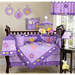 Sweet Jojo Designs Danielle's Daisies Flower Baby Girl Purple Floral Bedding 9 piece Purple Crib Bedding Set