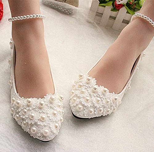 JINGXINSTORE Ivory White Lace Wedding Shoes Pearls Ankle Trap
