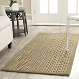 Safavieh Natural Fiber Collection NF442A Martinique Stripe Green Sisal Runner (2′ x 8′) For Sale