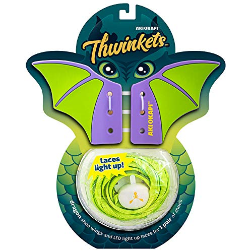 THWINKETS Silicone Shoe Wings and LED Light Up Shoelace Bundle Pack (Green/Purple Wings with Lime Green Laces)