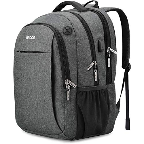 Laptop Backpacks Up to 15.6 inch,with USB Charging Port,Headphone Jack,Anti Theft Lock- OSOCE 32L Water-Repellent Business College School Travel Back Packs Bags Laptop Notebook for Worker