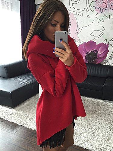 YouPue Mujer Sudaderas Ocasional Manga Larga de Pullover Tops Color Sólido Rojo