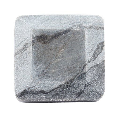 - Set of 4 Grey Marble Square Faceted Knobs or Pulls for Cabinets, Dressers and Drawers