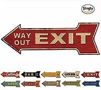 HANTAJANSS Street Signs Arrow Retro Exit Signs for Bar Decoration