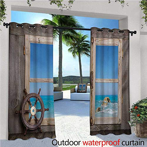 homehot Holiday Indoor/Outdoor Single Panel Print Window Curtain View Through Wooden Window with Seascape Ocean Holiday Steering Wheel Maritime Silver Grommet Top Drape W120 x L96 Taupe Blue - Winnie The Pooh Steering Wheel Cover