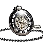 ManChDa Steampunk Mechanical Skeleton Big Size Hand Winding Pocket Watch Open Face Fob for Men 6