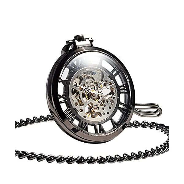 ManChDa Steampunk Mechanical Skeleton Big Size Hand Winding Pocket Watch Open Face Fob for Men 3