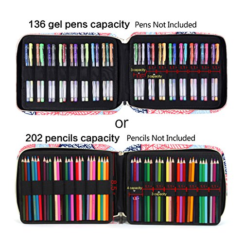Pencil Case Holder Slot -Holds 202 Colored Pencils or 136 Gel Pens with Zipper Closure - Large Capacity Pen Organizer for Watercolor Pens or Markers - Perfect Gift for Artist Mandala-Blue