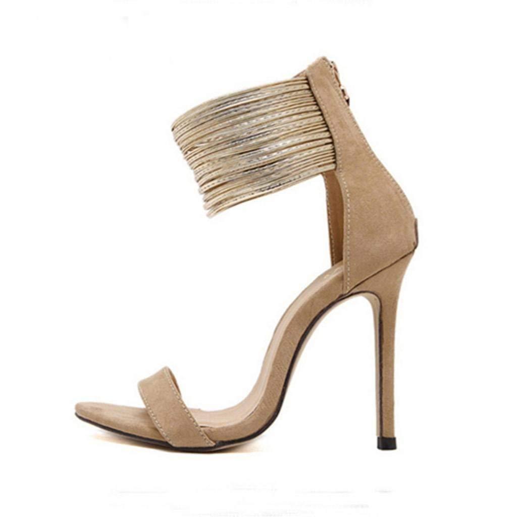 Qiusa Sommer Sommer Sommer Stiletto Gladiator Sandalen Court Schuhe für Frauen Damen verschönert Abend Hochzeit High Heel Peep Toe Slingback Größe 2-9 (Farbe   Braun Größe   5 UK) 305ff6