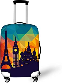 3D Black And White Musical Notes Print Luggage Protector Travel Luggage Cover Trolley Case Protective Cover Fits 18-32 Inch