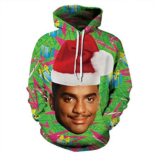 KSJK Unisex Funny Print Ugly Christmas Halloween Sweatshirts Jumper Hoodie NO49 XXXL -