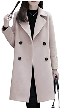 49796a2323 desolateness Women's Solid Wool Blend Trench Coat Winter Double Breasted  Jacket Outwear ...