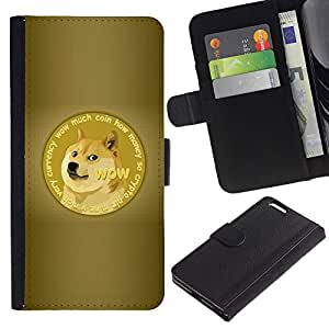 ULTIX Cases / Apple Iphone 6 PLUS 5.5 / FUNNY - DOGE WOW MUCH AWESOME SHIBA / Cuero PU Delgado caso Billetera cubierta Shell Armor Funda Case Cover Wallet Credit Card