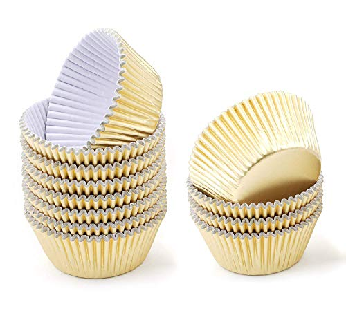 Foil Standard Baking Cups - Baking Cups, FLYYU Cupcake Liners Foil Metallic Paper Muffin Liners Paper, 200-Pack, Standard Size(Gold)