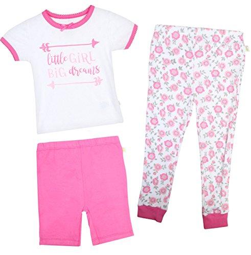 Duck Duck Goose Infant & Toddler Girls 3-Piece Snug-Fit Summer Pajama Set, Little Girl, 12 (Little Goose Girl)