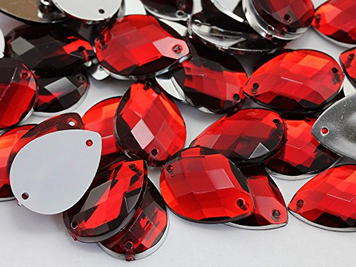 18x13mm Red Ruby CH17 Square Cut Teardrop Flat Back Sew On Gems - 50 Pieces
