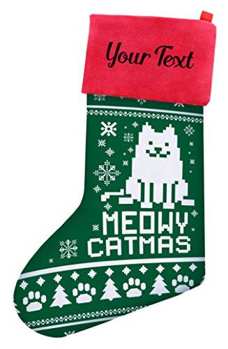 Christmas Stockings Cats Christmas Meowy Christmas Cat Ugly Christmas Sweater Themed Christmas Stockings Cat Lovers Gifts Personalized Christmas Stockings Custom Christmas Stocking Green