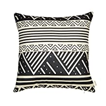 """Fjfz Cotton Linen Home Decorative Aztec Tribal Throw Pillow Case Cushion Cover for Sofa Couch Geometric Pattern, Black and White, 18"""" x 18"""""""