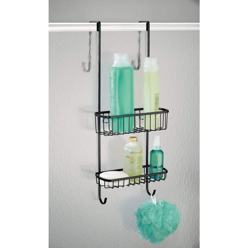 pour tout accessoire de do montage sans per/çage /étag/ère de douche pratique paniers de douche suspendus en acier affin/é mDesign rangement de douche /à suspendre /à la porte de la douche
