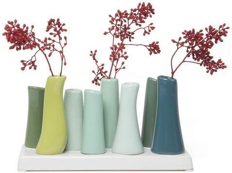 Chive – Pooley 2, Unique Rectangle Ceramic Flower Vase, Small Bud Vase, Decorative Floral Vase for Home Decor, Table Top Centerpieces, Arranging Bouquets, Set of 8 Tubes Connected Chartreause