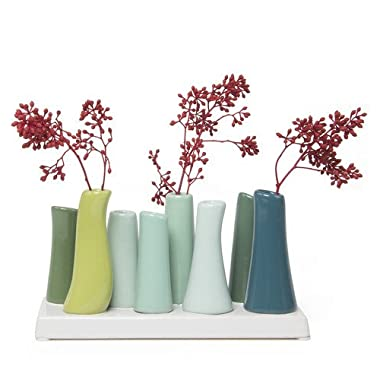 Chive - Pooley 2, 7.25  Long 3  Wide 4.5  Tall Unique Rectangle Ceramic Flower Vase, Small Bud Decorative Floral Vase Home Decor Centerpieces, Arranging Bouquets, Connected Tubes (Chartreuse Green)