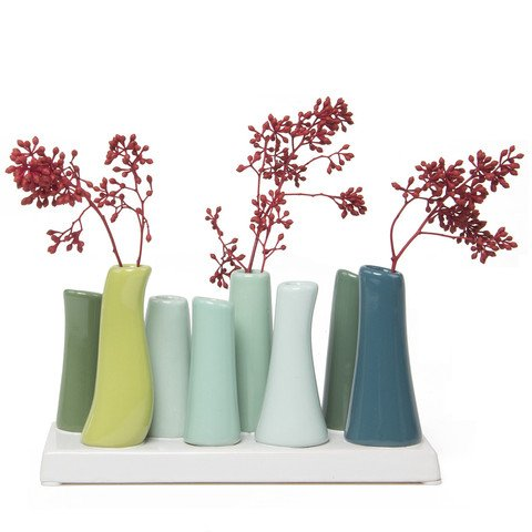 Green Tall Vase - Chive - Pooley 2, Unique Rectangle Ceramic Flower Vase, Small Bud Vase, Decorative Floral Vase for Home Decor, Table Top Centerpieces, Arranging Bouquets, Set of 8 Tubes Connected (Chartreuse Green)