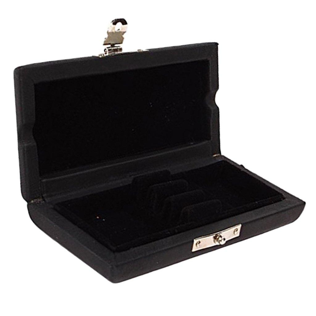 MonkeyJack 3x Oboe Reeds Case Box Holder PU Leather & Wooden for Wood Wind Parts Black