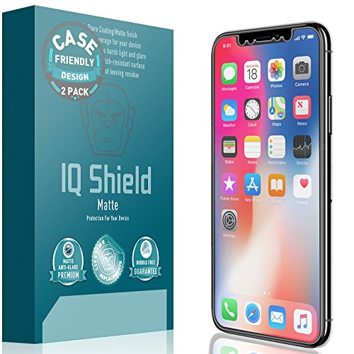 iPhone X Screen Protector (Case Friendly)[2-Pack], IQ Shield Matte Full Coverage Anti-Glare Screen Protector for iPhone X Bubble-Free Film