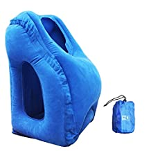 MULGORE Airplane Pillow Travel Pillow Inflatable Travel Pillow for Airplanes Cars Buses Trains Office Napping Camping for Fully Support Soft Flight Sleep Pillow Fast Inflating Nap Pillow (BLUE)
