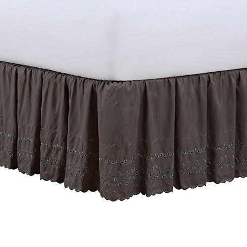 Fresh Ideas Ruffled Eyelet Bedskirt, Queen, Grey ()