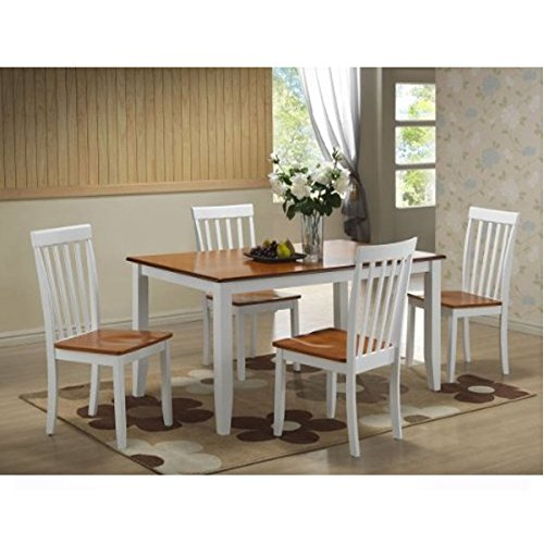 Boraam 22033 5-Piece Bloomington Dining Room Set, White/Honey Oak