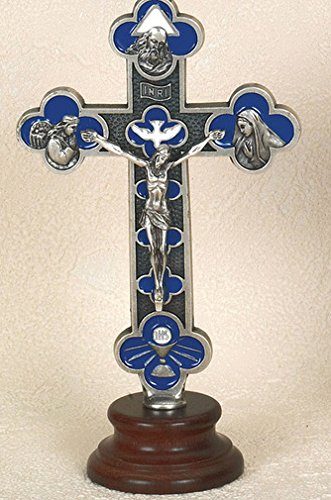 6 Inch Blue Enameled Double Trinity Holy Spirit Cross on Base. Limited Edition Gift Box Included Made in Italy (Enameled Angel Pendant)